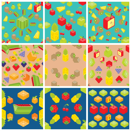 Set of nine cubic fruits patterns.