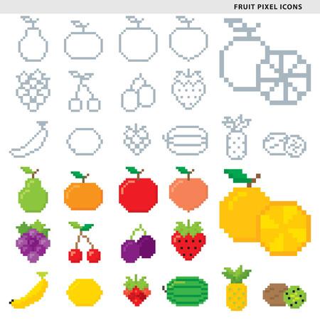Conjunto de quince iconos de píxeles de frutas en estilos monocromáticos y coloridos. Foto de archivo - 86687215