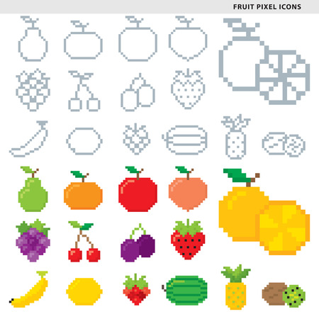 Set of fifteen fruit pixel icons in monochromatic and colorful styles.