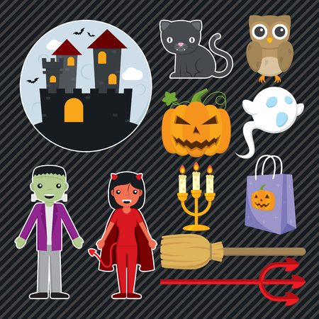 Satz von 11 Ikonen für Halloween-Dekoration. Standard-Bild - 87006128