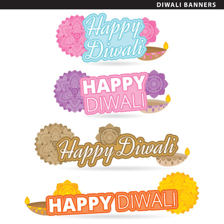 Set of diwali banners in two typographic styles. Illustration