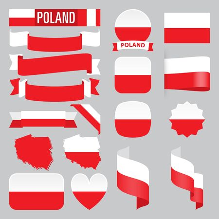 Set of Poland maps, flags, ribbons, icons and buttons with different shapes.