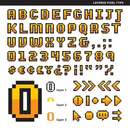 Layered pixel alphabet with symbols for short texts or head texts. Çizim
