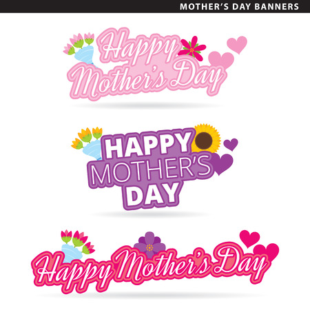 Set of mothers day banners in two typographic styles