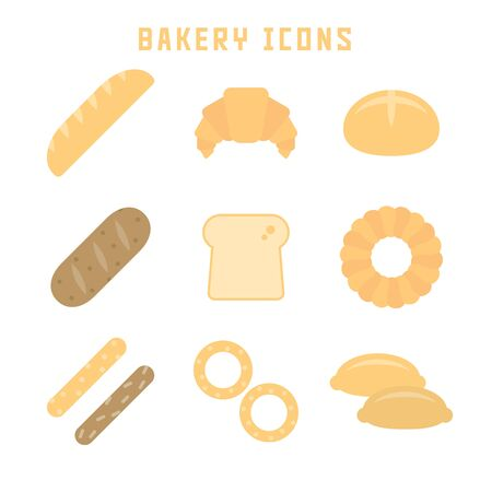 Bakery icons in flat style for your bread projects or gastronomy publications. 向量圖像