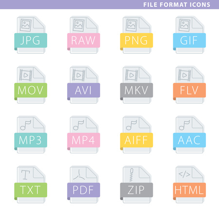 Set of file format icons in flat style.