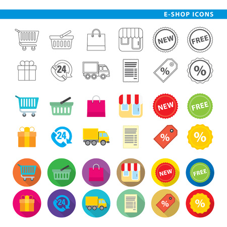 Set of twelve e-shop icons in line, flat and shadow styles.