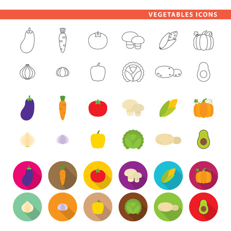Set of twelve food icons in line, flat and shadow styles. Stock Illustratie