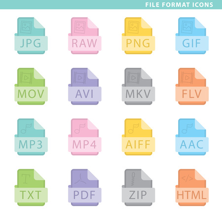 Set of file format icons in flat style with ribbons. Vector Illustration