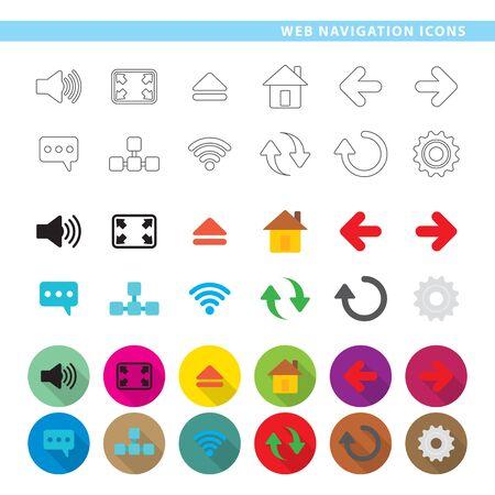 세 가지 스타일, 선, 색상 및 그림자에서 12 개의 웹 탐색 아이콘 집합. 일러스트
