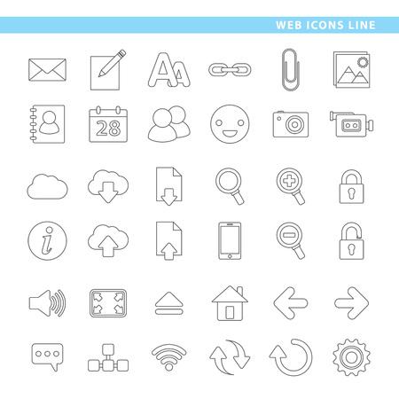 3 개는 라인 스타일로 아이콘, 호스팅, 메일 및 웹 탐색을 설정합니다. 일러스트
