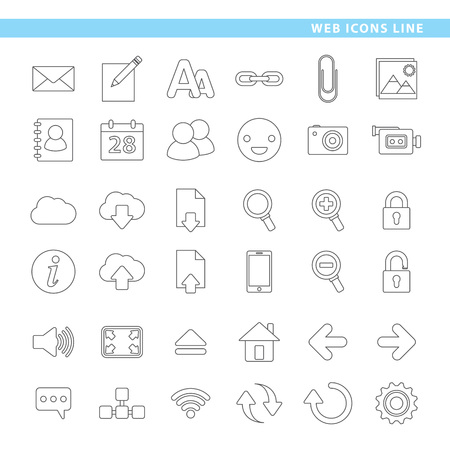Three sets icons, hosting, mail and web navigation in line style. 向量圖像