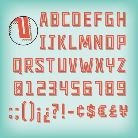 Set of inline characters and numbers with striped shadow. Çizim