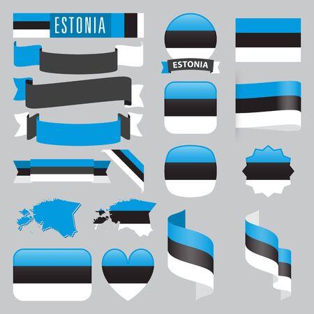 エストニアのマップ、フラグ、リボン、アイコンと形状の異なるボタンのセットです。