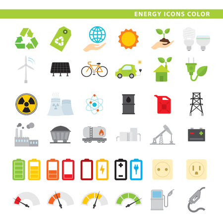 Set of 36 energy icons in flat style. 向量圖像