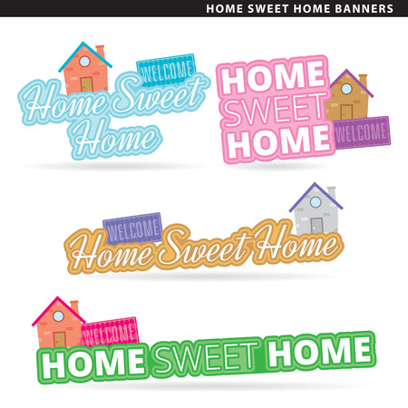 Set of home sweet home banners in two typographic styles.