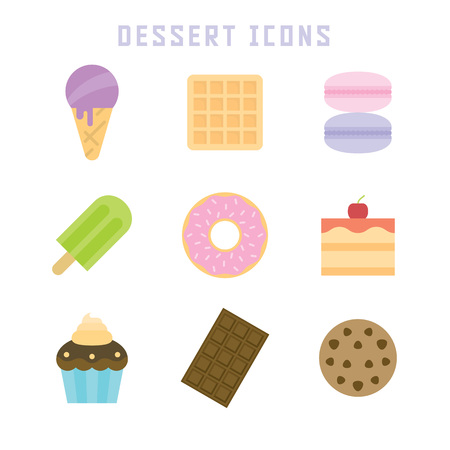 Dessert icons in flat style for your sweet food projects or recipe publications.