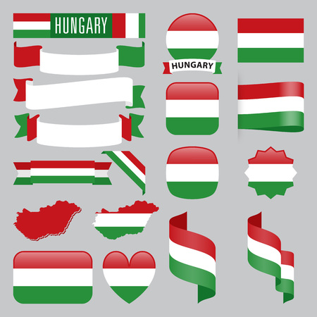 Set of Hungary maps, flags, ribbons, icons and buttons with different shapes.