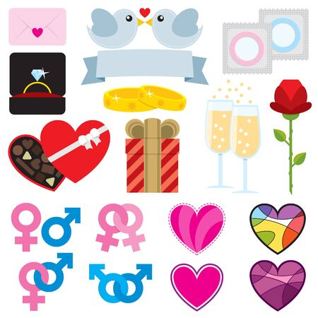 Set of 17 icons for Valentine decoration.