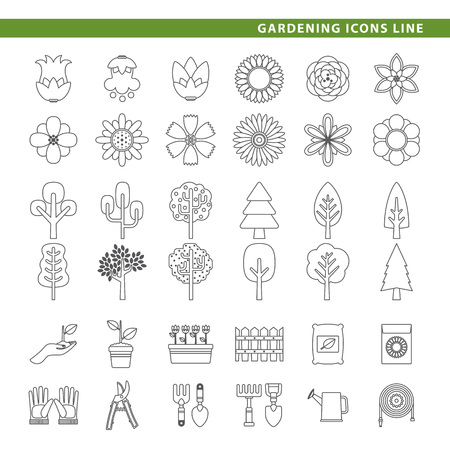 Three sets icons, flowers, trees and gardening tools in line style.