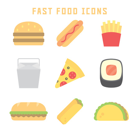 sub menu: Fast food icons in flat style for your cuisine projects or food publications.