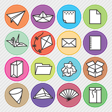 Set of 16 paper icons with background. Ilustração