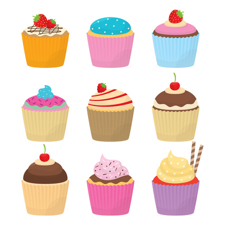 Set of nine delicious cupcakes for your food projects or dessert publications.