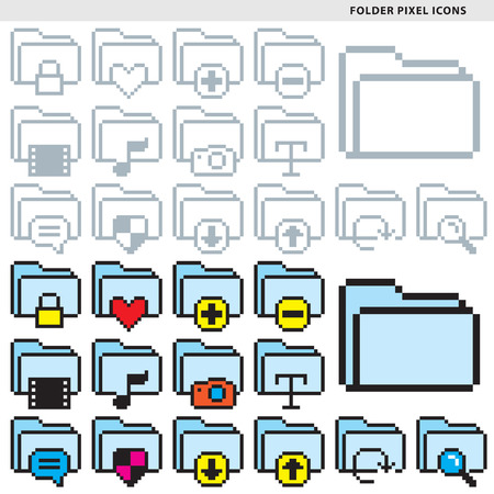 Set of fifteen folder pixel icons in monochromatic and colorful styles.