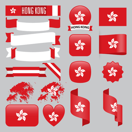 Set of Hong Kong maps, flags, ribbons, icons and buttons with different shapes. Illustration