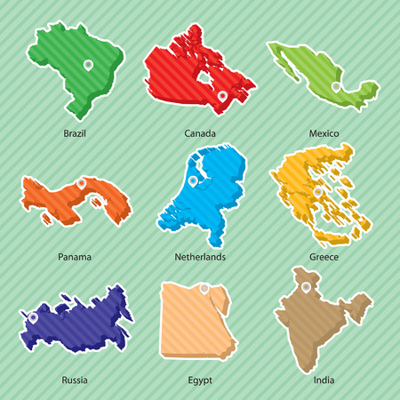 Nine maps of countries, Brazil, Canada, Mexico, Panama, Netherlands, Greece, Russia, Egypt, India.