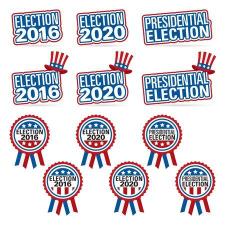 Verkiezingstitels en insignes voor verkiezingen 2016 en 2020.