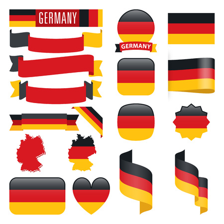 national identity: Set of Germany maps, flags, ribbons, icons and buttons with different shapes. Illustration