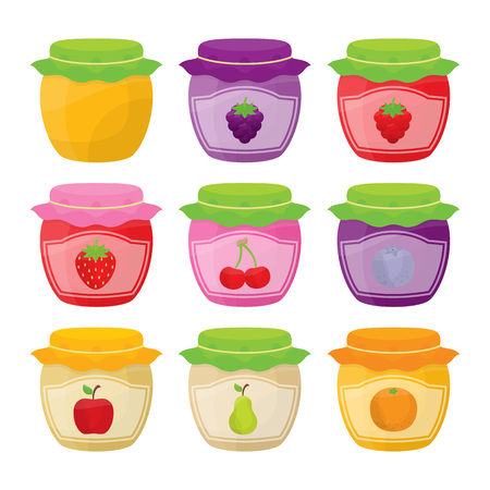 Set of nine jars with labels and fruit illustrations.