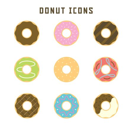 Donut icons in flat style for your pastry projects or food publications.