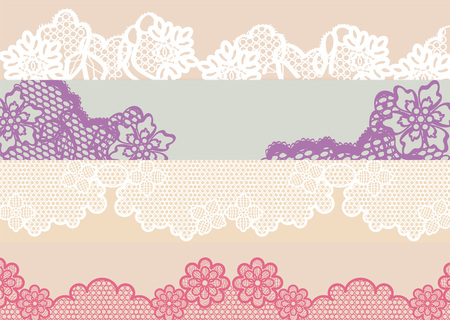Four types of lace in different colors and design that can serve as texture, for all textile project in which they are working; in general the reasons that form are organic as are the flowers Ilustração