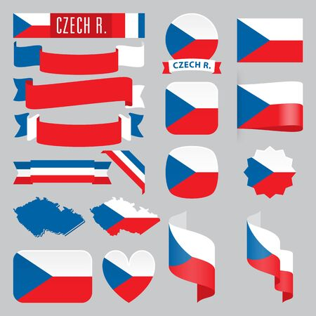 Set of Czech Republic maps, flags, ribbons, icons and buttons with different shapes.