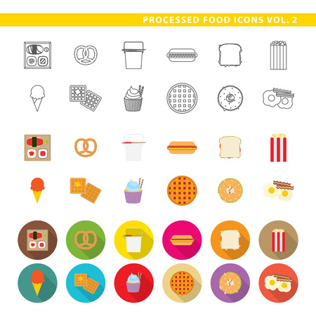 Set of twelve traditional food, fast-food, in three different styles, line, color and shadow. Stock Illustratie