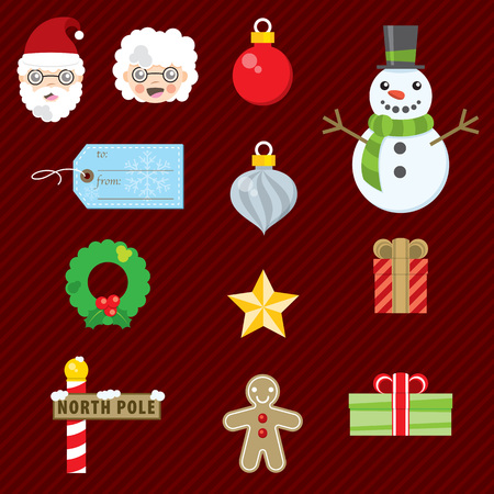 Set of twelve icons for Christmas decoration.