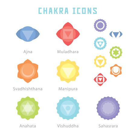 Chakra icons in flat style for your spirituality projects or yoga publications.