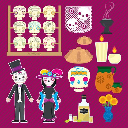 Set of 11 icons for D?a de los muertos or Halloween decoration. Vectores