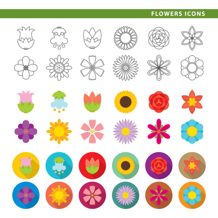 Set of twelve flower icons, in three different styles, line, color and shadow. Иллюстрация