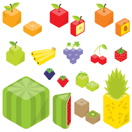 Cubic fruits Orange, Pineapple, half apple, Peach, Pear, Lemon, Banana, Kiwi, Apple, Grape, Lime, Strawberry, Cherry, Blackberry, Watermelon, half orange. Ilustração
