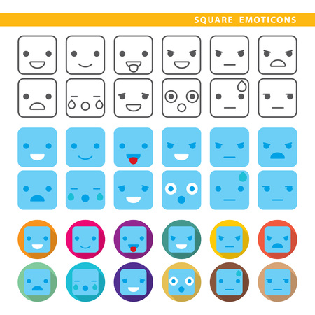Set of twelve square emoticons in line, flat and shadow styles.
