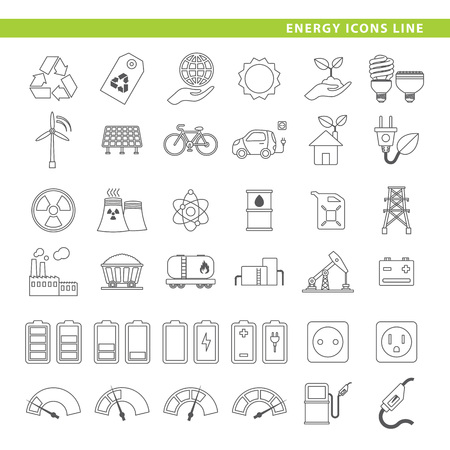 Set of 36 energy icons in line style.