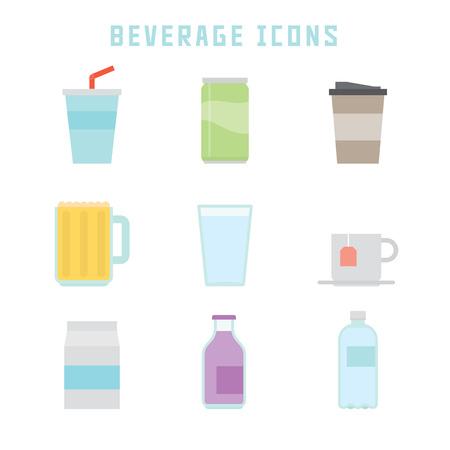 あなたのレストランのプロジェクトや美食の出版物のためのフラットスタイルで飲料のアイコン。 写真素材 - 86687247