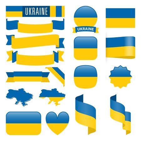 異なる形状のウクライナのマップ、フラグ、リボン、アイコンやボタンのセット。