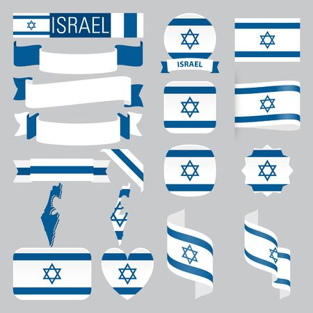 Set of Israel maps, flags, ribbons, icons and buttons with different shapes.