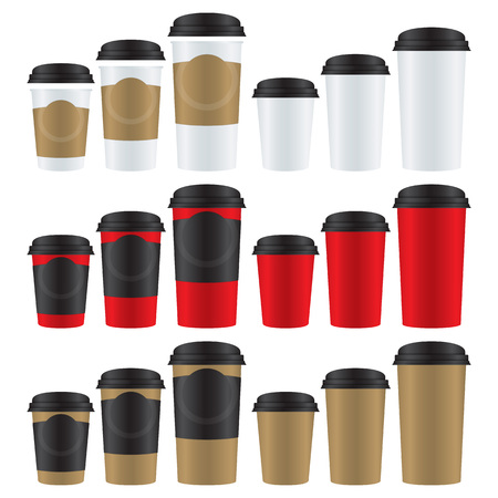 Set of hot drink paper cups in three different sizes and colors. Illustration