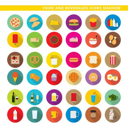 Drei Sets Icons, traditionelles Essen, Fast-Food und Getränke im Schatten Stil. Standard-Bild - 86687251
