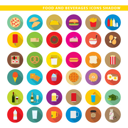 Three sets icons, traditional food, fast-food and beverages in shadow style.